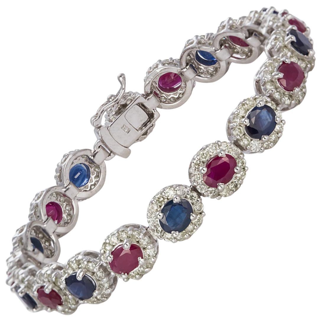 14 Karat Gold Diamond, Ruby and Sapphire Bracelet