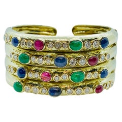 14 Karat Gold, Diamond, Sapphire, Ruby and Emerald Wide Hinged Cuff Bracelet