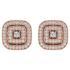14 Karat Gold Diamond Square Stud Earrings