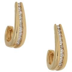 14 Karat Gold Diamond Strip Earrings