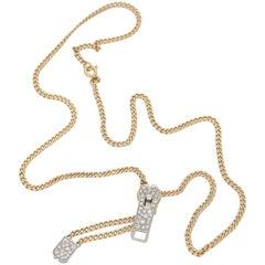 14 Karat Gold Diamond Zip Necklace