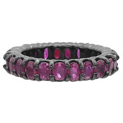 14 Karat Gold Dipped in Black Rhodium Ruby Eternity Band Ring