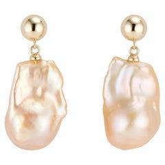 14 Karat Gold Double Bubble Baroque Pearl Earrings
