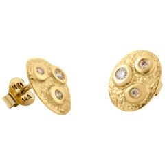 "14-Karat Gold Earrings ""Glory"" with 6 Diamonds"