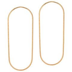 14 Karat Gold Earrings Hoop Shape Minimal Snake Chain Moving Greek Earrings