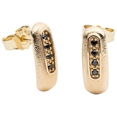 14-Karat Gold Earrings with 8 Black Diamonds