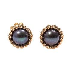14-Karat Gold Earrings with Black Pearls