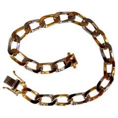 14 Karat Gold Elongated Curb Link High Shine Bracelet Two-Toned