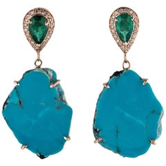 14 Karat Gold Emerald and Turquoise Slice Earrings