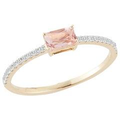 14 Karat Gold Emerald Cut Morganite Ring