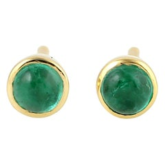 14 Karat Gold Emerald Stud Earrings