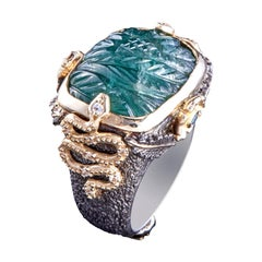 14 Karat Gold, Emerald, White and Blue Spinel, White Sapphire Firenze Too Ring