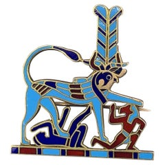 14 Karat Gold Enamel Egyptian Revival Brooch Heremakhet Horus Hieracosphinx