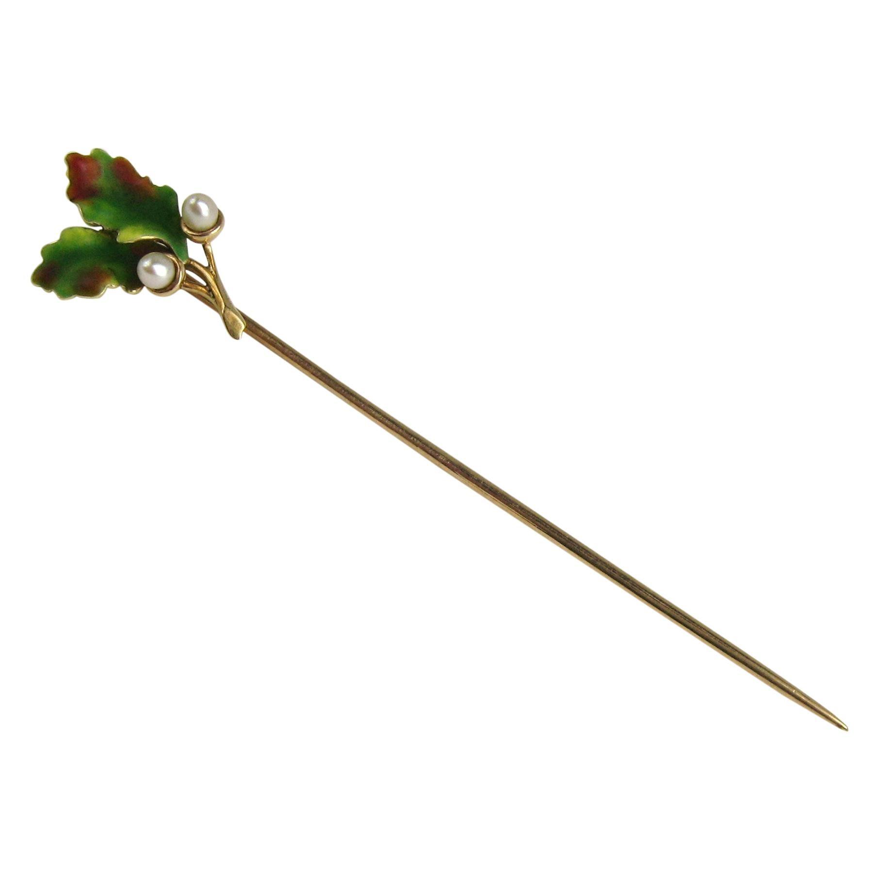 14 Karat Gold Enamel Leaf and Seed Pearl Stick Pin