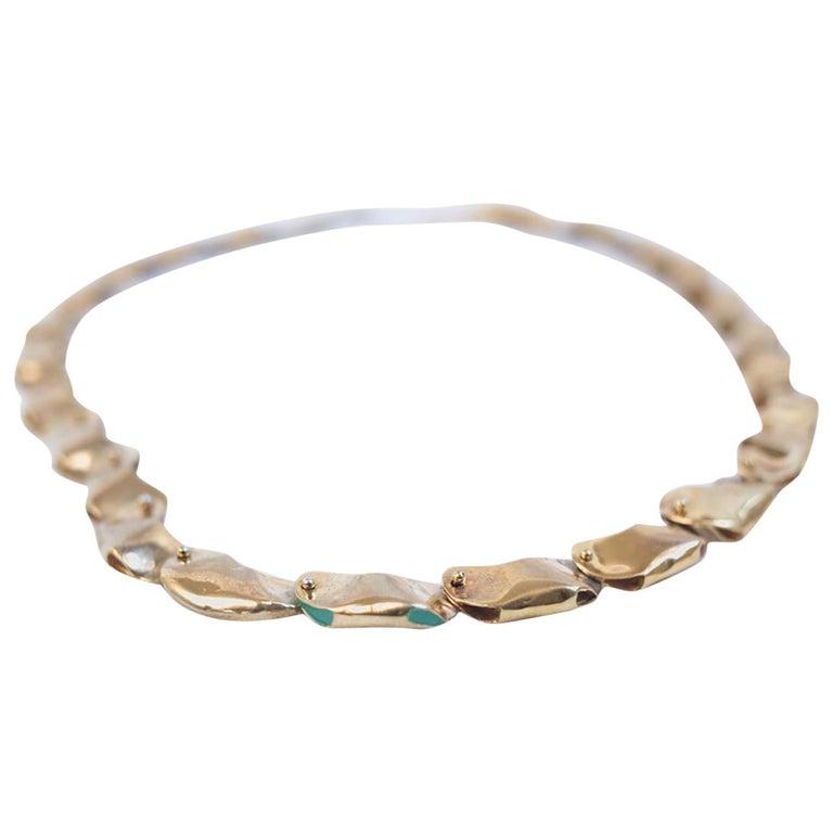 14 Karat Gold Exclusive Magic Bead Necklace by L'Enchanteur For Sale