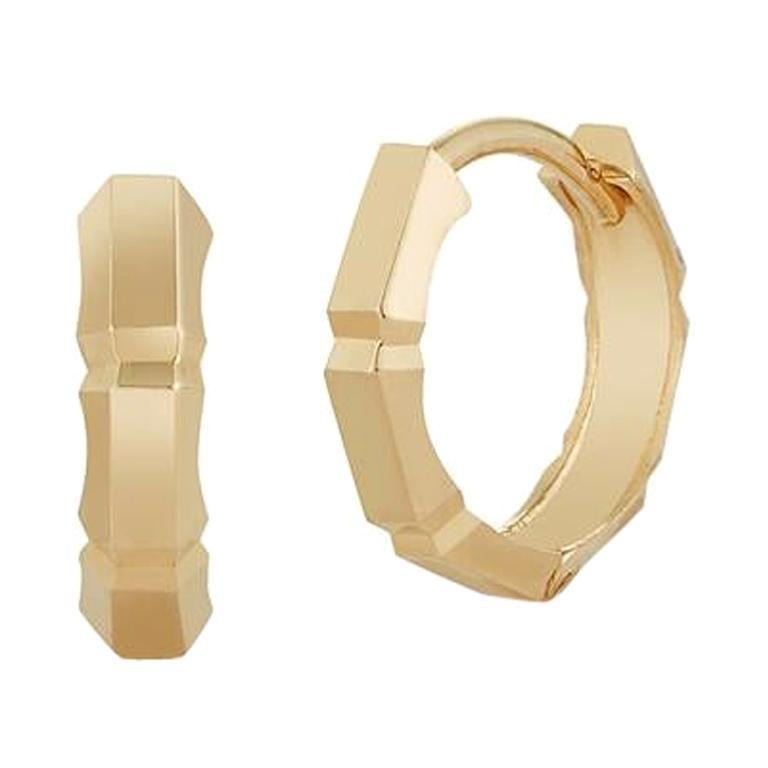 14 Karat Gold Faceted Huggies For Sale