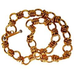 14 Karat Gold Floating Circles Toggle Link Necklace