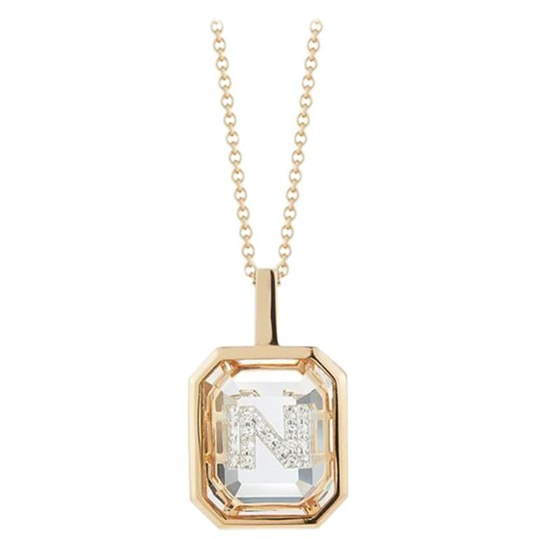 14 Karat Gold Frame Crystal Quartz Secret Diamond Initial Necklace For Sale