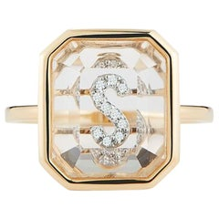 14 Karat Gold Frame Crystal Quartz Secret Diamond Initial Ring