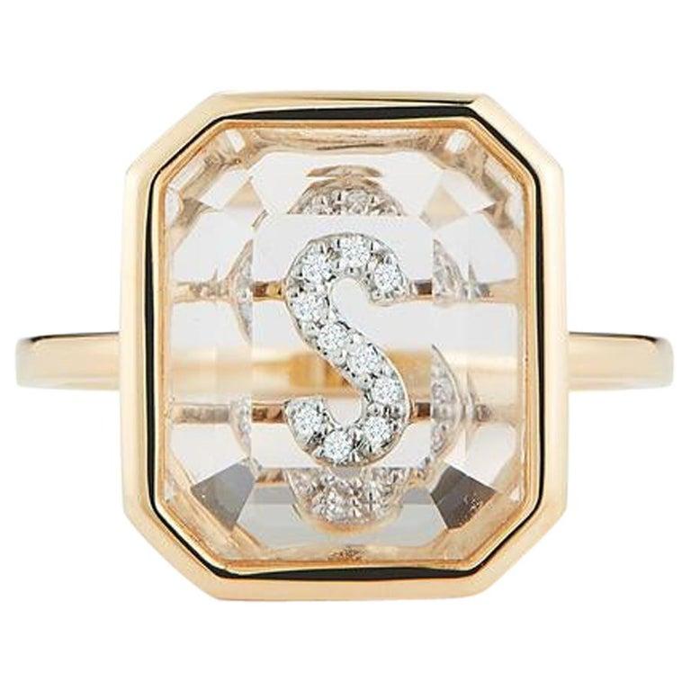 14 Karat Gold Frame Crystal Quartz Secret Diamond Initial Ring For Sale