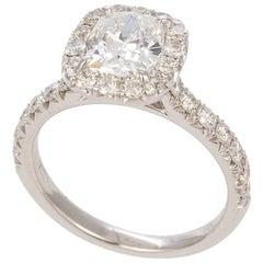 14 Karat Gold GIA Certified Cushion Cut Diamond Halo Ring 1.87 Carat F/VVS2