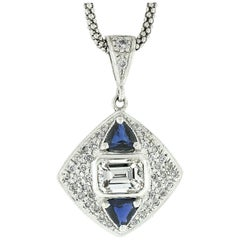 14 Karat Gold GIA Emerald Cut Diamond and Trillion Sapphire Pendant Necklace