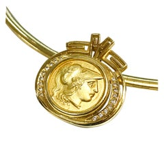 14 Karat Gold Goddess Athena Pendant Omega Necklace