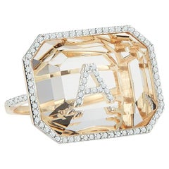 14 Karat Gold Grand Diamond Frame Crystal Quartz Secret Diamond Initial Ring