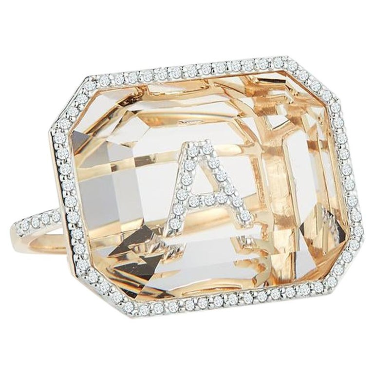 14 Karat Gold Grand Diamond Frame Crystal Quartz Secret Diamond Initial Ring For Sale