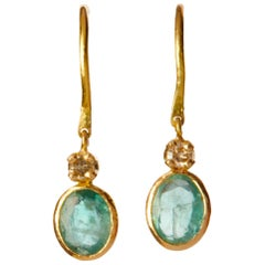 14 Karat Gold Green Emerald and Diamond Small Dangling Earrings