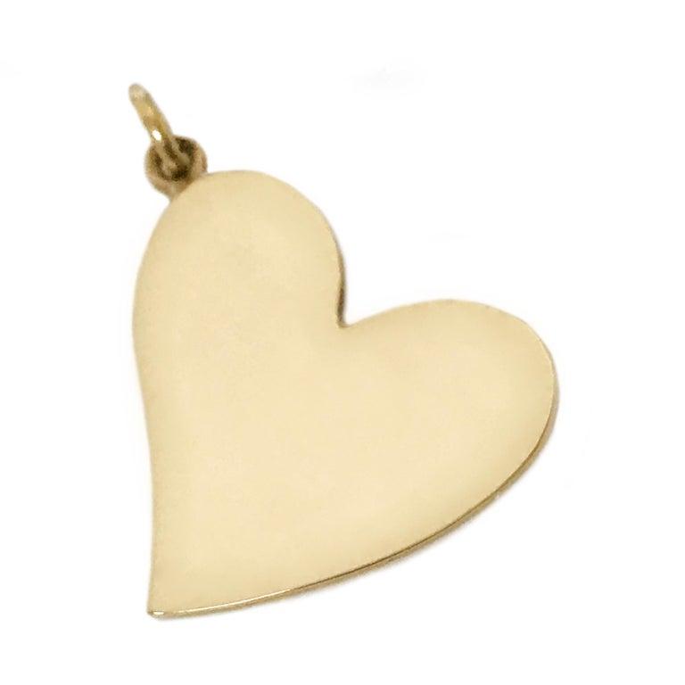 Contemporary 14 Karat Gold Heart-Shaped Pendant For Sale