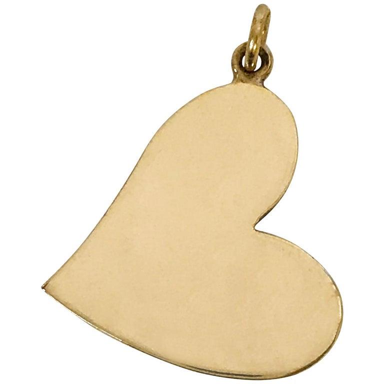 14 Karat Gold Heart-Shaped Pendant For Sale