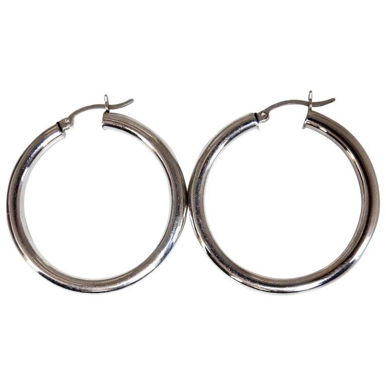 14 Karat Gold Hoop Earrings High Shine Lightweight For Sale At 1stdibs
