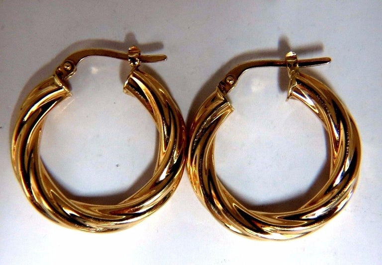 14 Karat Gold Hoop Earrings Twist Lightweight At 1stdibs