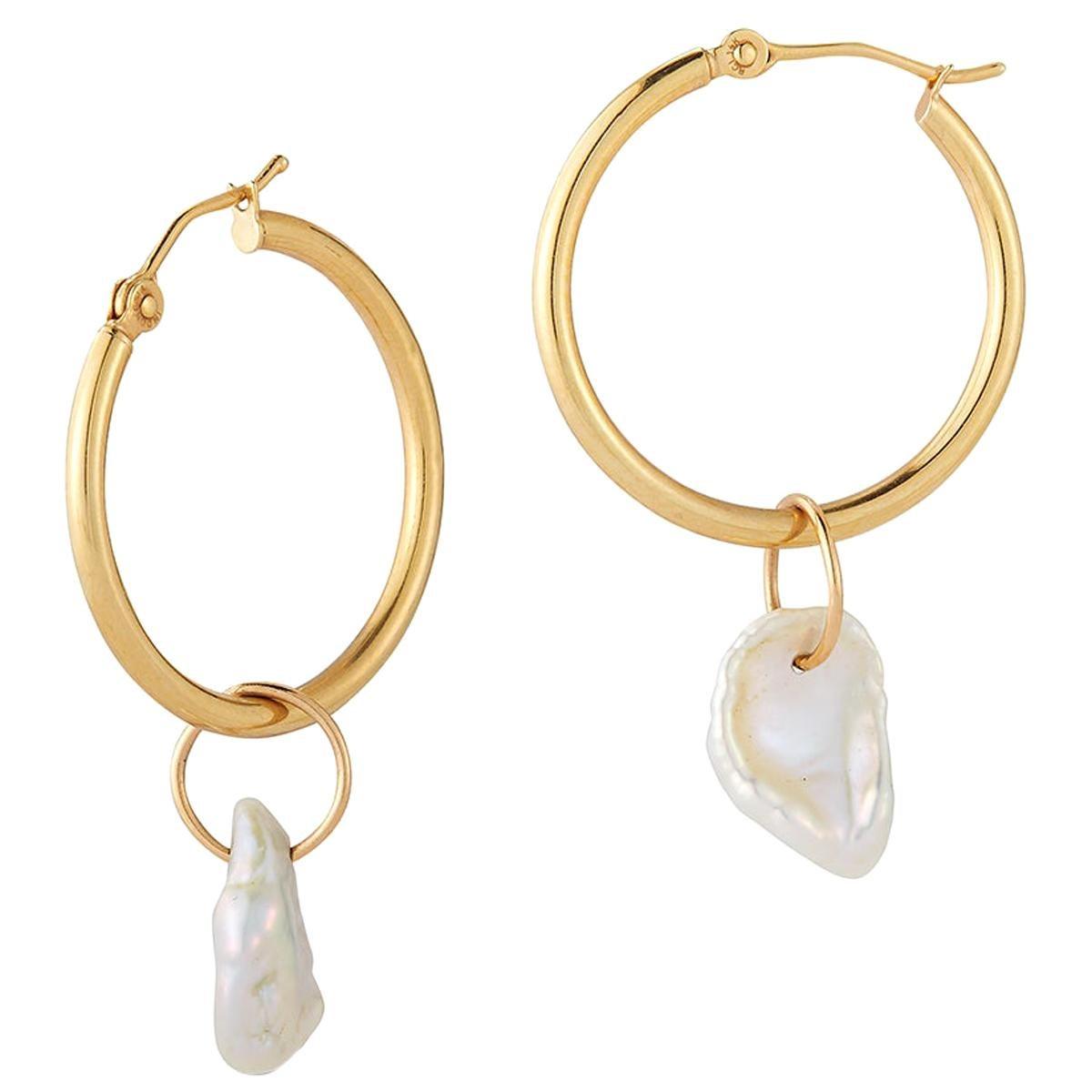 Hi June Parker 14 Karat Gold Hoop Earrings with Keshi Pearl Charms