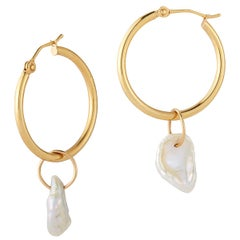 14 Karat Gold Hoop Earrings with Keshi Pearl Charms Hi June Parker