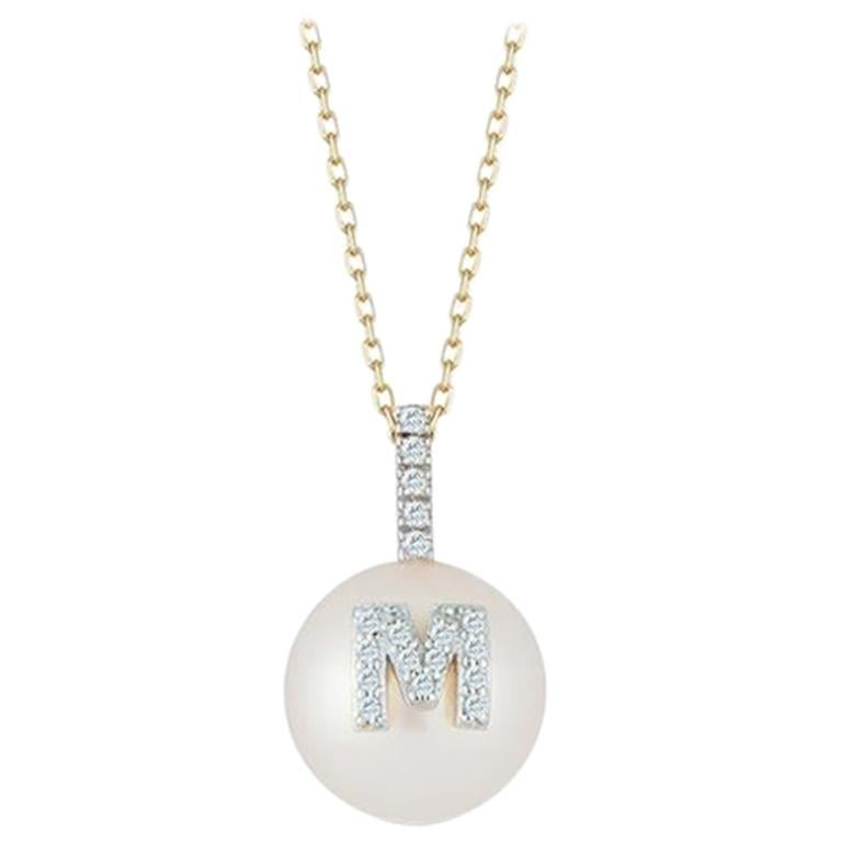 14 Karat Gold Initial Pearl Necklace For Sale
