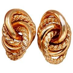 14 Karat Gold Intertwined Knot Earrings