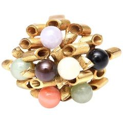 14 Karat Gold, Jade, Amethyst, Coral, Black and White Onyx Cluster Dome Ring