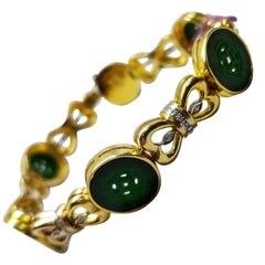 14 Karat Gold Jade and Diamond Bracelet with 42 Diamonds and 6 Button Jades P