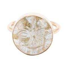 14 Karat Gold Labradorite Hand Carved Moon Face Ring