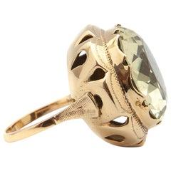 Large 14 Karat Gold Green Quartz Ring