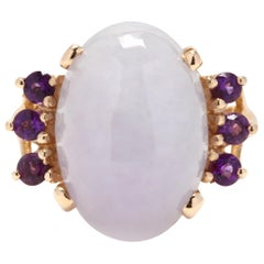 14 Karat Gold, Lavender Jade and Amethyst Cocktail Ring
