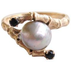 14 Karat Gold Mabe Pearl Sapphire Bamboo Ring