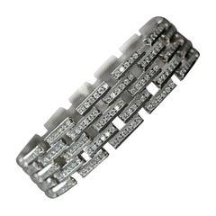 14 Karat Gold Maillon Panthere Diamond Bracelet 5-Row Beveled Link Bracelet