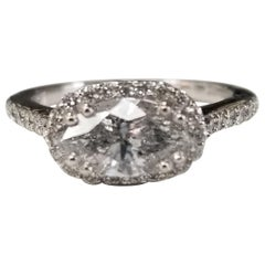 14 Karat Gold Marquise Diamond Halo East to West Setting Total Weight 1.70pts