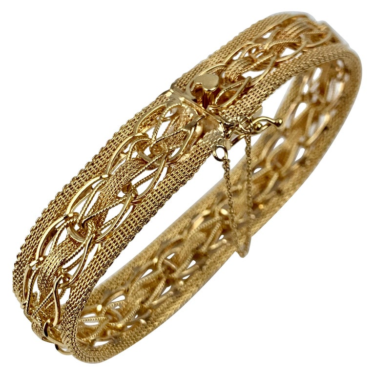Mesh Bracelet-Finely Woven 14k Yellow Gold-1950s For Sale