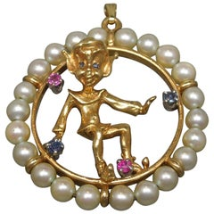14 Karat Gold Mischievous Devil Elf Circle Pendant