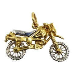 14 Karat Gold Motorcycle Pendant Charm