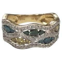 14 Karat Gold Multicolored Diamonds Set with White Diamonds Throughout Waving